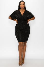 Plus Size Velvet V-neck Dress.