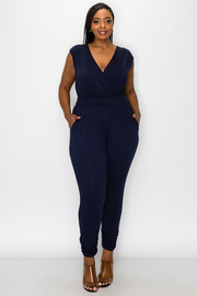 Plus Size Sleeveless Solid Jumpsuit.