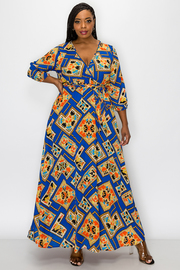 Plus Size Printed 3/4 Sleeve Maxi dress.