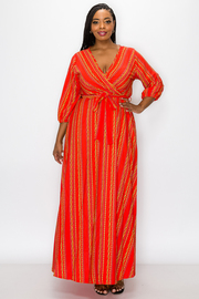 Plus Size V-neck Print Maxi Dress with front Tie.