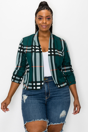 Plus Size Plaid Print Blazer.