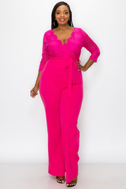 Plus Size Solid Jumpsuit with front Tie.