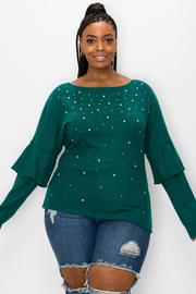 Plus Size Solid Long Sleeve Knit Top with Bead detail.