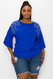 Plus Size 3/4 Sleeve Top with Beads Detail.