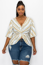 Plus Size Print Top with Front wrap.