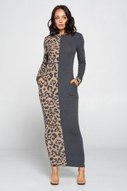 Two Color Contrast Maxi Dress.