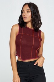 Sleeveless Knit Top. Rib Mier.