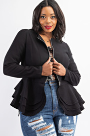 Plus Size Long Sleeve Peplum Jacket.