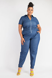 Plus Size Short sleeve zip front jumpsuit with pockets