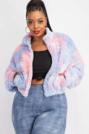 Plus Size Tiedye Sherpa Jacket With Pockets.