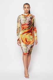 Printed Mock neck long sleeve mini dress.