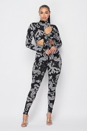 Jumpsuit with cut outs on the front with tie.