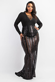 Plus Size Stripe Sequins Mermaid Maxi Skirt.
