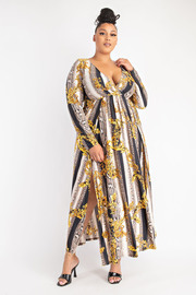 Plus Size Surplice Long Sleeve Maxi Dress with Front Slits.s.