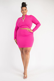 Plus Size Rib Half Zip Crop top and Skirt Set.