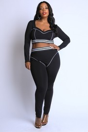 Plus Size Striped Elastic reverse cover stitch detailed Set.