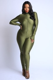 Plus Size Thumbhole mock neck zip up jumpsuit.