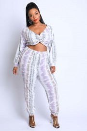 Plus Size Tie Die Off shoulder Set.