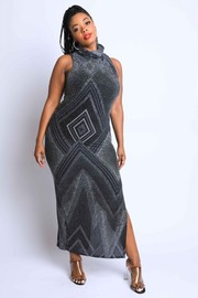 Plus Size Moc neck side slit maxi dress.
