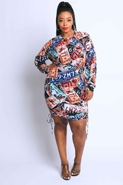 Plus Size Printed Terry Mini Dress.