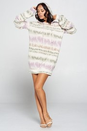 Terry Brushed Print Hoodie Mini Dress.