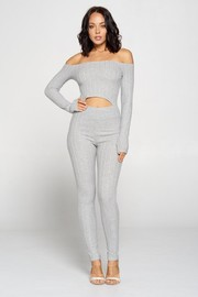 Cable Knit Fabric Jumpsuit.