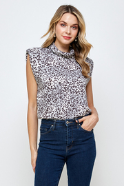 Leopard Print soft knit turtle Neck Top.