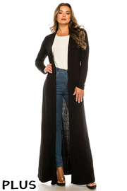 Plus Size Solid Rayon Long Cardigan.