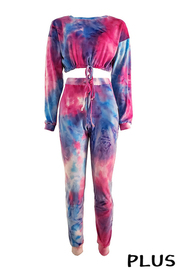Plus Size Fleece Tiedye Set.