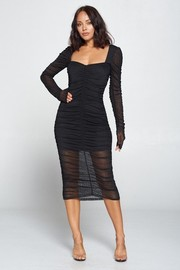 Squre Neck Solid Shirring Dress.
