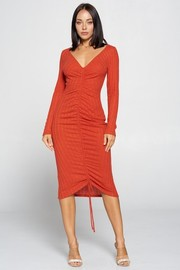 Solid Shirring Long Sleeve Dress. Vertigated Cashmere.