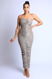Lurex Ruched Tube Maxi Dress.