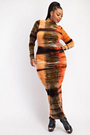 Plus Size Printed Velvet Maxi Dress.