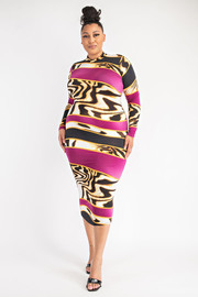 Plus Size Long Sleeve Mock Neck Dress.