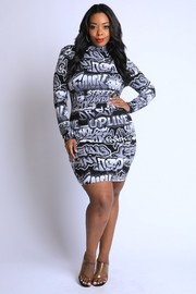 Plus Size Graffiti Printed Mockneck Mini Dress.