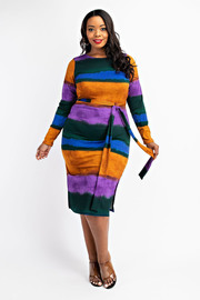 Plus Size Long Sleeve Rib Dress with Side Slits.