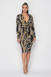 Printed Long Sleeve Midi Dress.