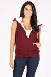 Sherpa Lined Full Zip Fleece Sleeveless Hoodie Vest.