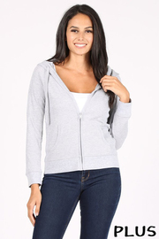 Plus Size Basic Solid Fitted Long Sleeve Thermal Hoodie with Pockets.