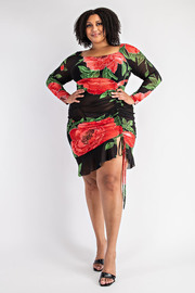 Plus Size Long Sleeve Shirred Front Ruffle Dress.