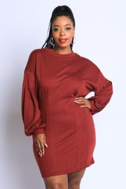 Plus Size Puff Sleeve Corset detailed Tunic Dress.