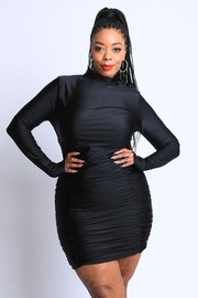 Plus Size Double Ruched Long Sleeve Dress.