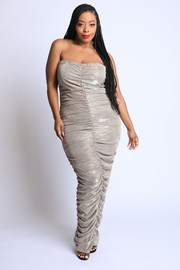 Plus Size Lurex ruched tube maxi Dress.