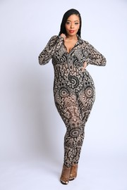 Plus Size Printed Mesh Jumpsuit.