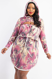 Plus Size Tube Dress and Hoodie Set.