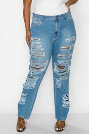 Plus Size High Rise Boyfriend Fit Jeans. Non Stretch.