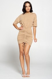 Solid Hoodie Shirring Mini Dress.