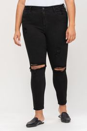 Plus Size High Rise Distress Ankle Skinny