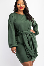 Plus Size Sweatshirt Dress with Tie Front.