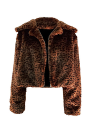 Crop Leopard Brown Fur Jacket.